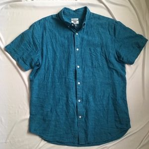 Old Navy Blue Slim Fit Cotton Linen Blend Shirt